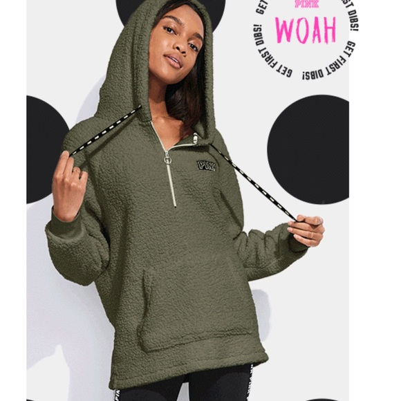 Victoria's Secret Tops - Victoria's Secret Nwt olive fleece hoodie